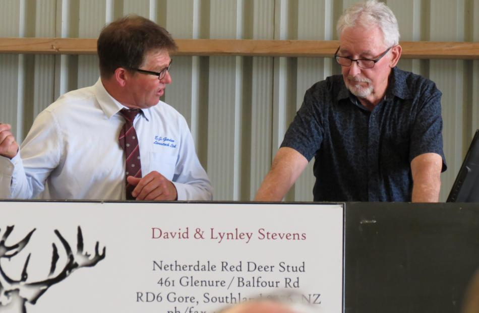 Moving the sale along are independent auctioneer Neville Clark (left), of Gisborne, and stud...