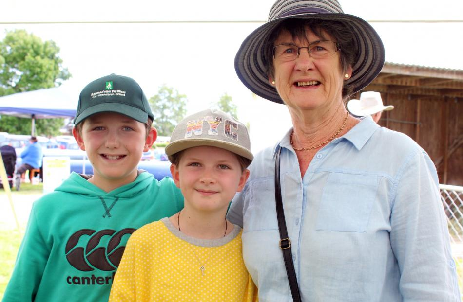 Logan (11) Addison (9) and June Campbell, of Winton.