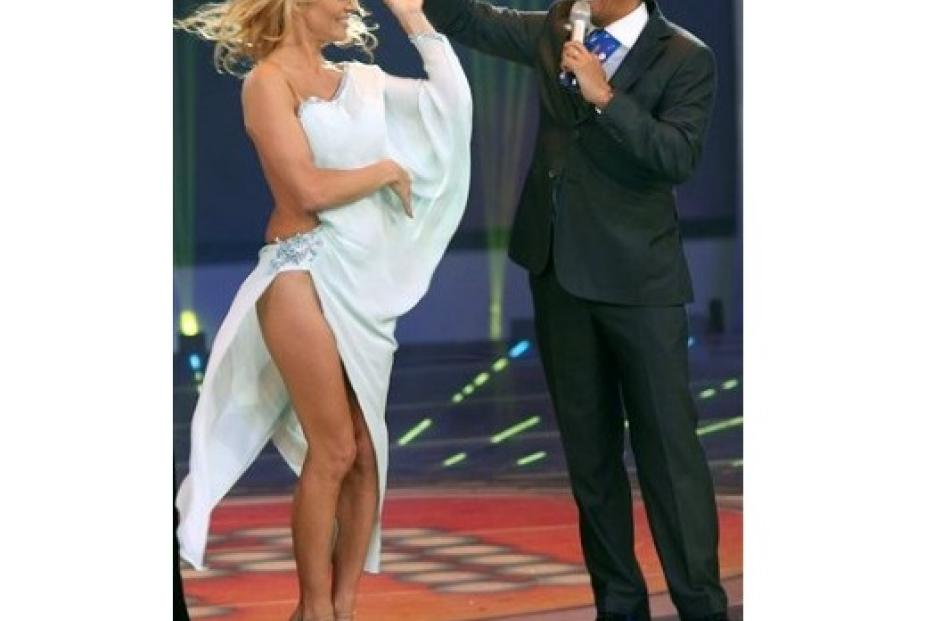Pamela Anderson, left, dances with Rafael Araneda, host of the Mexican reality show 'La Academia'...