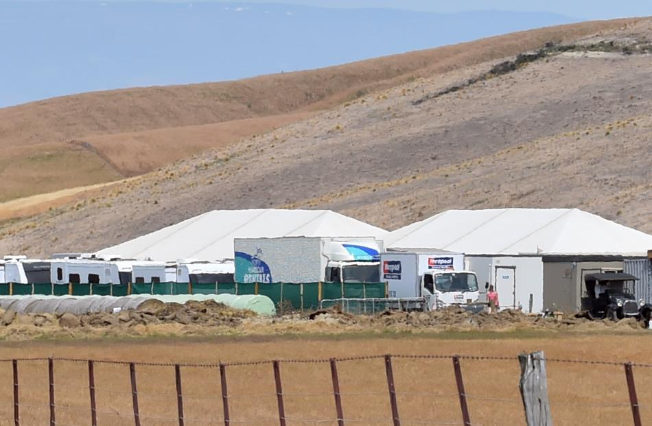 Crew vehicles line up on a large film set at Hills Creek in Maniototo yesterday. PHOTOS: GERARD O...