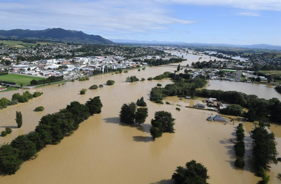 The Mataura River rises to cover parts of Gore on Wednesday.
