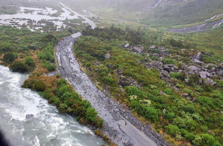 State Highway 94 towards Milford Sound was damaged in many places during the week. PHOTO: SUPPLIED