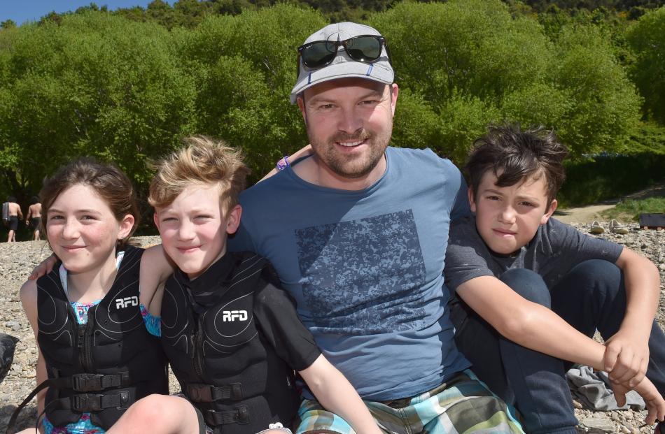 Leva (9), Oli (6), Justin and Finn (11), Courtney, of Dunedin.