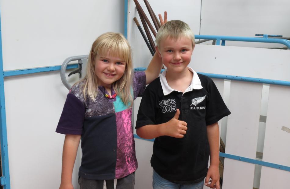 Holly (6) and Blake (8) Campbell, of Earnscleugh Station, near Alexandra, enjoy the merino ram...