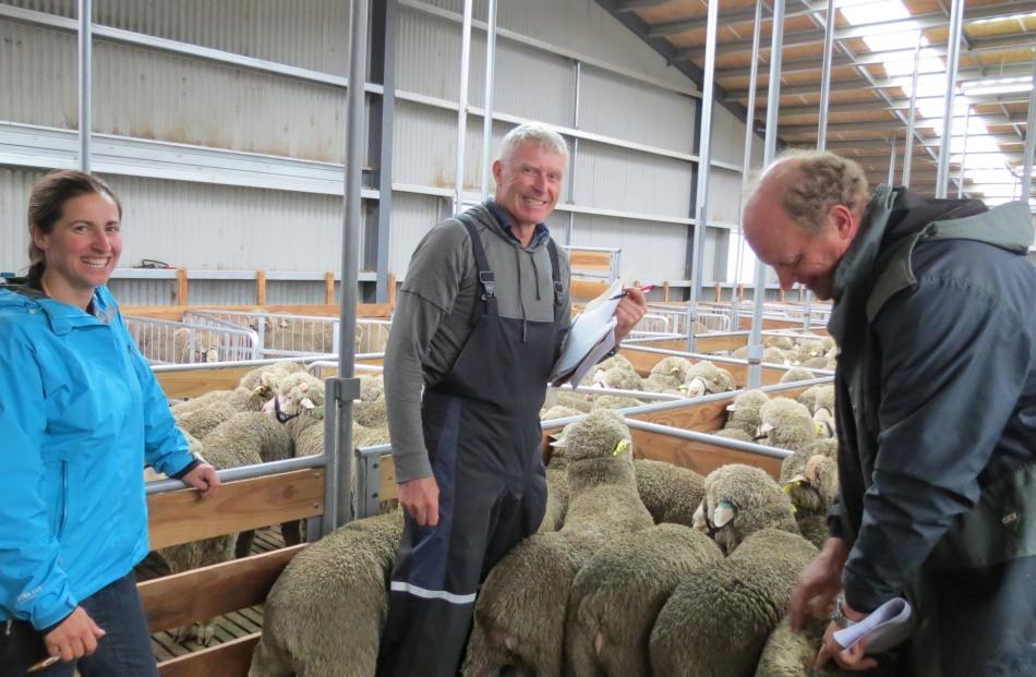 Checking out rams during Earnscleugh's sale last week are (from left) Anna Vaughan, of Cleardale...
