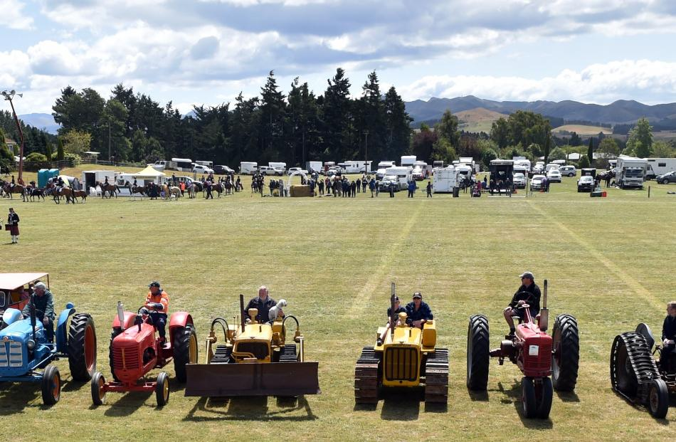 Vintage machinery on display during the grand parade at the Palmerston-Waihemo A&P Show.