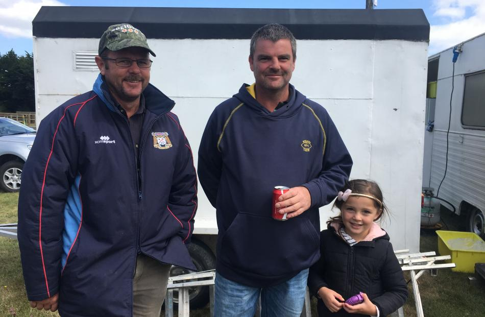 Clayton Lucas, of Waimate, and Bryce and Ruby (5) Tisdall, of Macraes Moonlight. Photo: Alice Scott