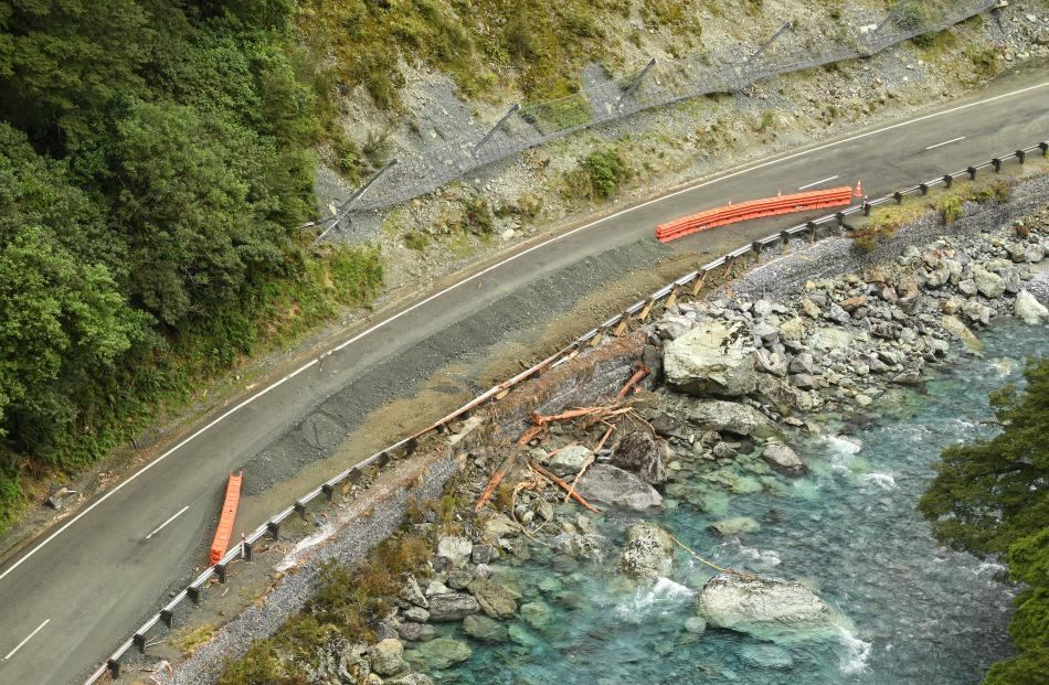 Several parts of the road along State Highway 94 collapsed in to the river below following heavy...
