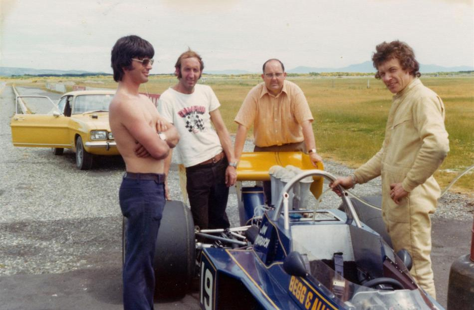 Testing the new fuel injection system on the Begg 018 at Teretonga Park, near Invercargill, in...