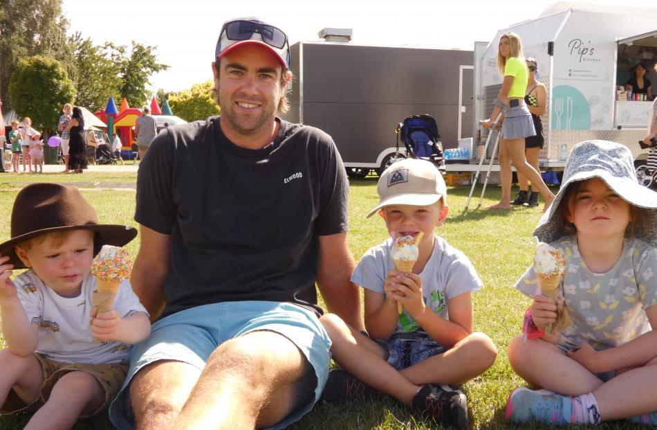Ted Columb (2), of Dunedin, Jeremy and Lucas (5) Jenkins, of Omakau, and Claudia Columb (5), of...