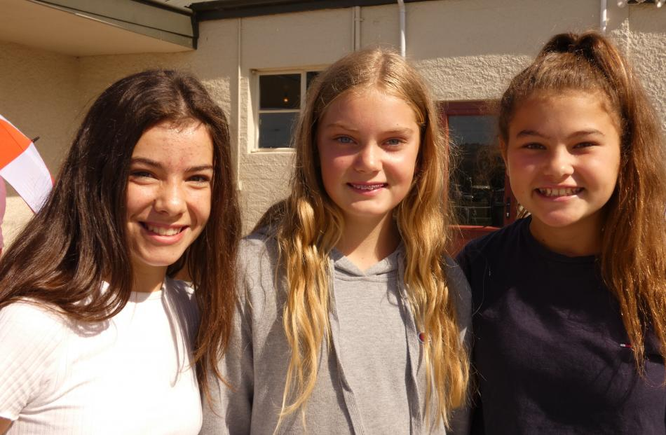 Milly McAtamney (12), of Omakau, Molly Malcolm (13), of St Bathans, and Ciara Paterson (12), of...