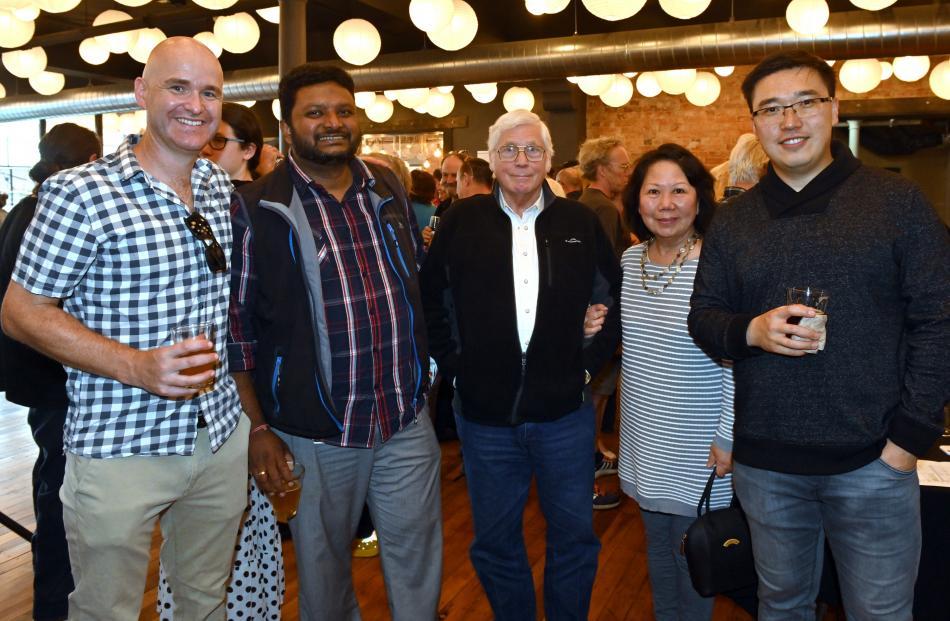 Phillip Shaw, of Manawatu, and Lux Selvanesan, Hank and Rebekah Wolfe and Bill Lu, all of Dunedin.