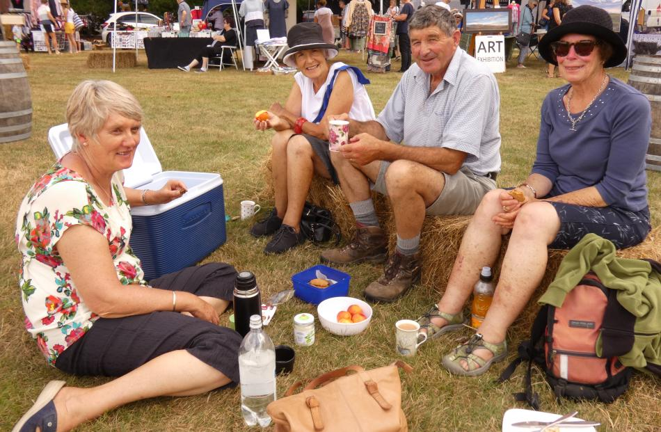 Enjoying a picnic at the Maniototo A&P Show in Ranfurly yesterday are (from left) Rose Gardyne, of Ida Valley, Jackie Roy, of Alexandra, Robert Gardyne, of Ida Valley, and Nancy Rieser, of Alexandra.