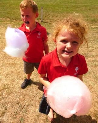 Candy floss was a big hit at the show among children, including Patearoa siblings Harry (7) and...