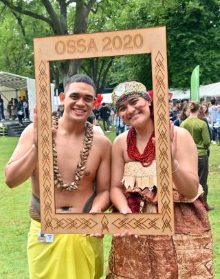 Mathew Teo (21) and Blessing Tioa (19) promote the Otago Samoan Students' Association at the OUSA...