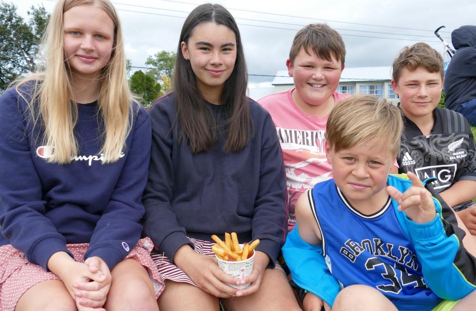 Olivia Soper and Lilly Gooch (both 14) and Kane (11), Te Atua (12) and Te Ra (9) Benington, all...