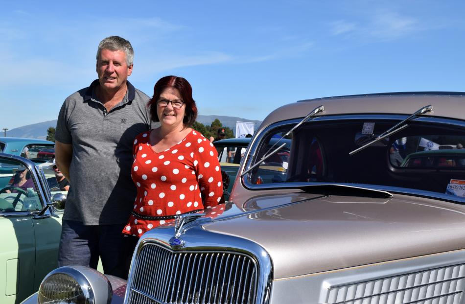 Peter and Rachel Finnis, of Abbotsford, admire a 1935 Ford Coupe.