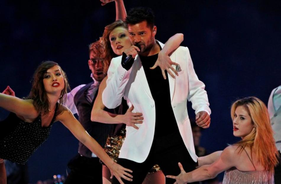 Puerto Rican singer Ricky Martin performs during the closing ceremony of the Pan American Games...