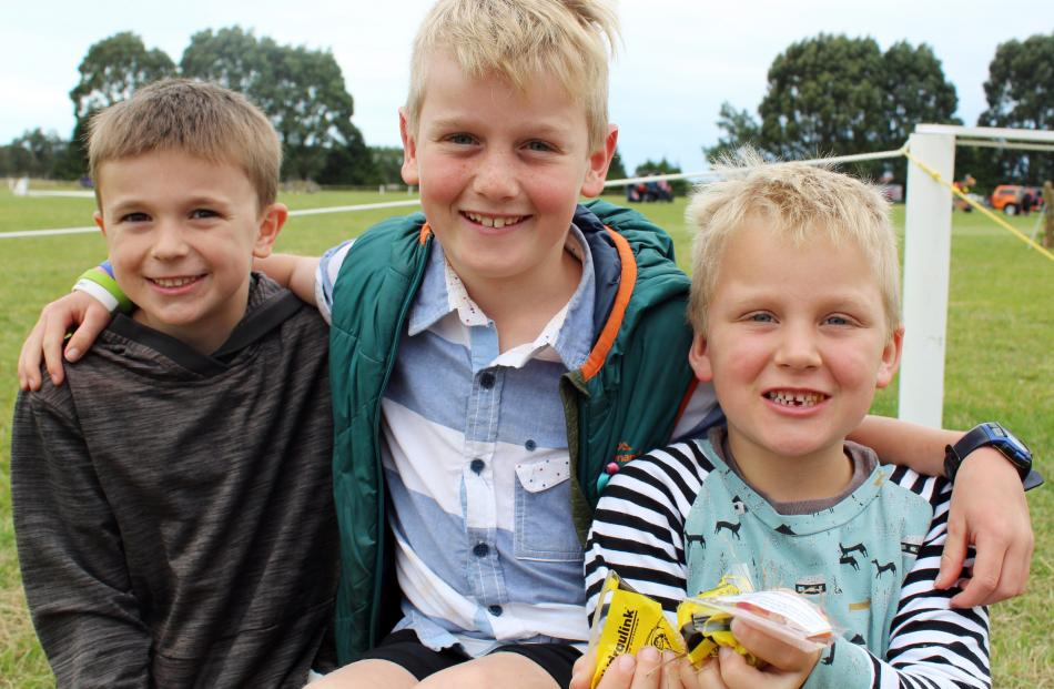 Riley Mead (6) and Oliver (9) and Lewis (7) Roubroeks, all of Invercargill.