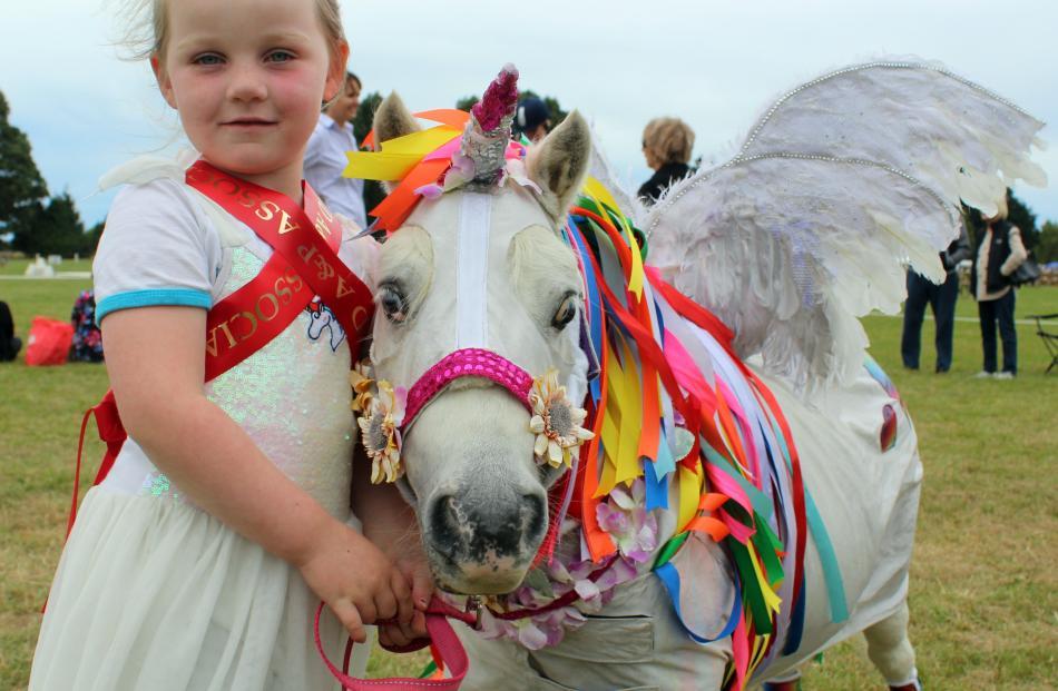 Michaela Argyle (4) with pony Super Syd, of Winton.