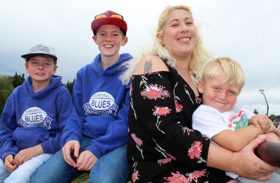 Neithanyl (9) and Marcus (13) Stevens, Ferris Craig and Charlie Linwood (4), all of Invercargill.