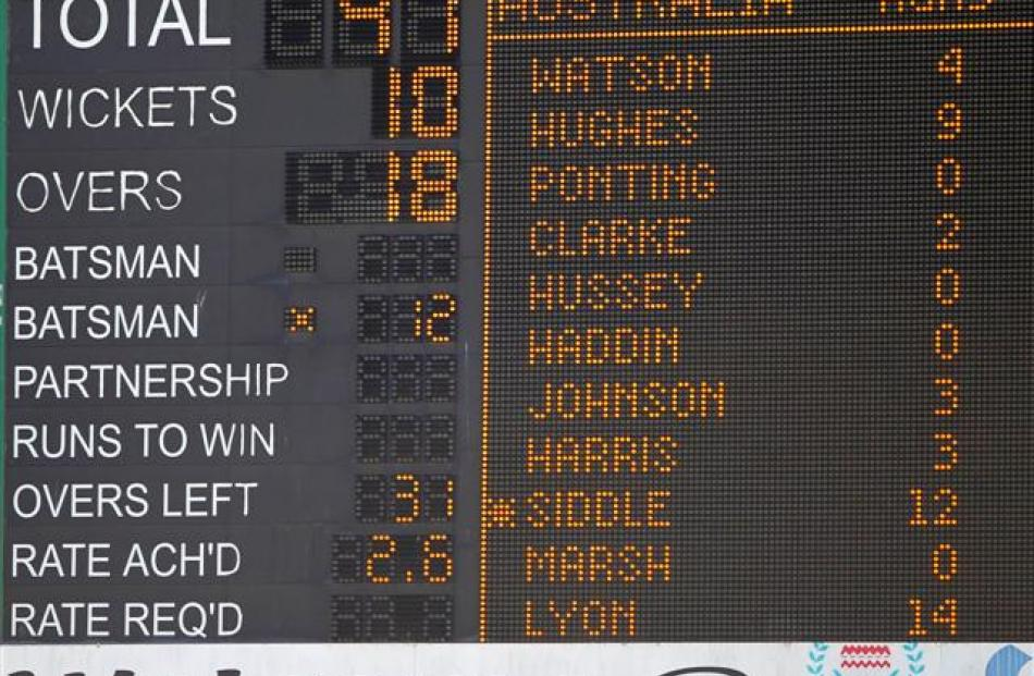 The scoreboard reflects Australia's second innings collapse during the second day of their first...