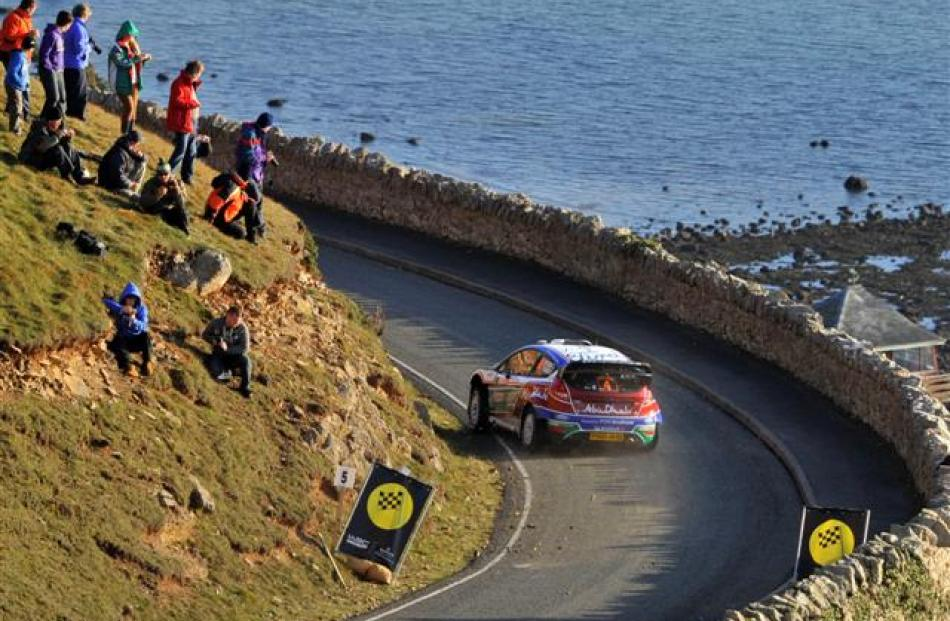 Jari-Matti Latvala of Finland in his Ford drives through Llandudno during the Wales Rally....
