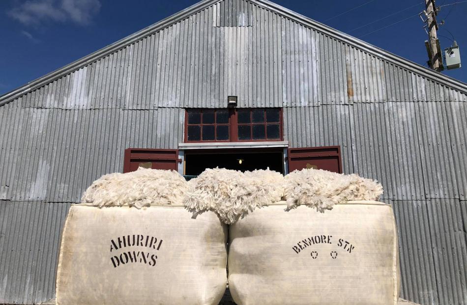 Benmore Station's display included bales of wool and merino fleeces. Photo: Nic Blanchard
