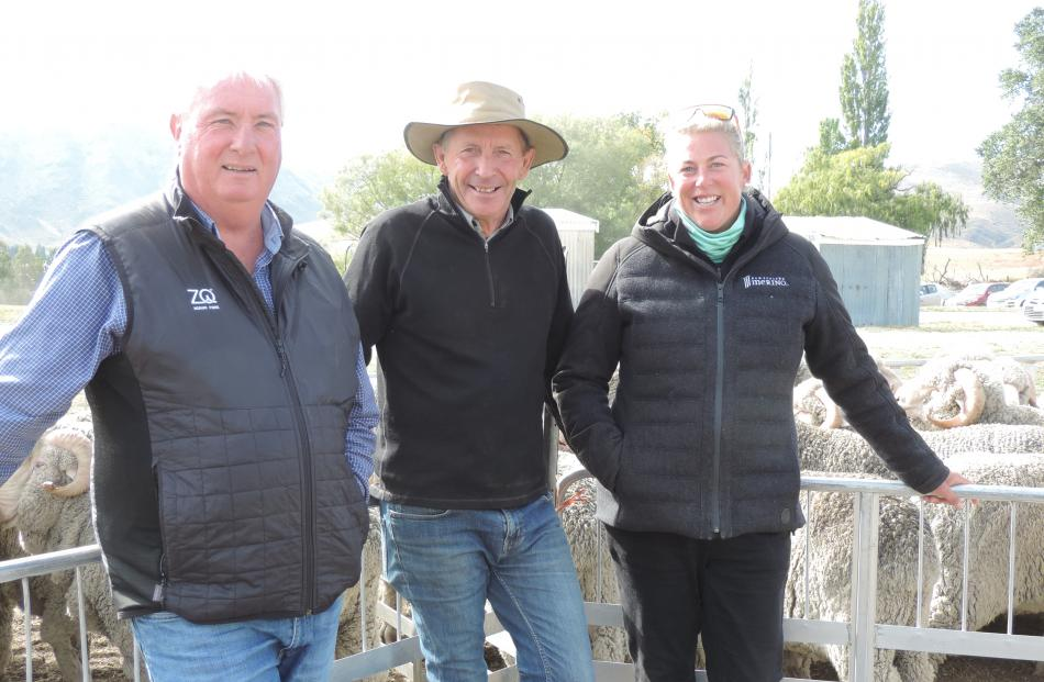 Otematata Station owner Hugh Cameron (centre) is flanked by New Zealand Merino Company representatives Mike Hargadon from Christchurch and Nic Blanchard from Omarama. Photo: Sally Brooker