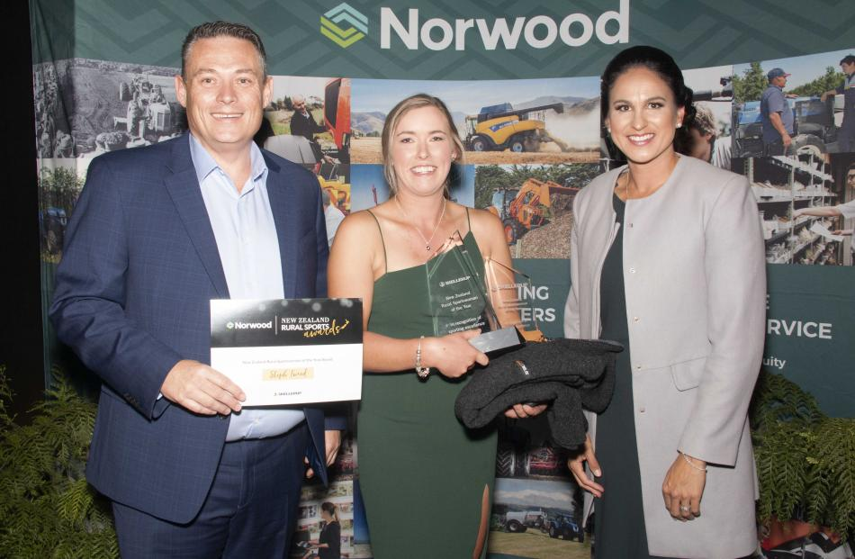 Skellerup's Paul Randall, Rural Sportswoman of the Year Steph Tweed (centre) and Black Stick...