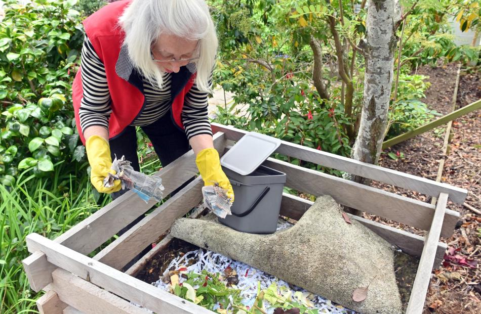 Mrs Angelo-Roxborough learned to make compost when she lived at Burkes Pass where there was no...