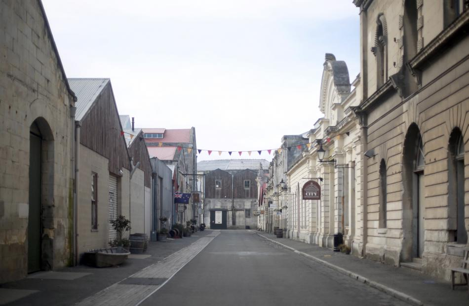 Harbour St, in Oamaru's Victorian precinct, is empty on day one of the Covid-19 lockdown. Photo:...