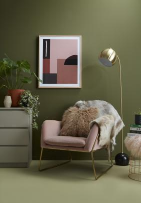 In the corner of this bedroom, both celery and olive work beautifully alongside blush and...