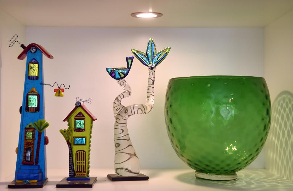 """Kathy Chiles has been collecting hand-blown New Zealand art glass for more than 20 years. """"I love..."""