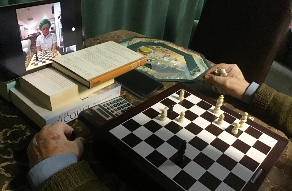 Matthew (11), in Auckland, challenges Grandpa, in Dunedin, to a chess competition on Tuesday...
