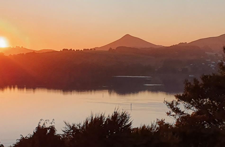 Sunrise over Hereweka-Harbour Cone viewed from St Leonards on Tuesday morning. PHOTO: CRAIG CAMPBELL