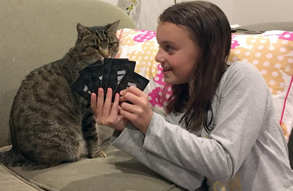 Isla Ludgate (10) confers with cat Harry during a card game at their Andersons Bay home. PHOTO:...