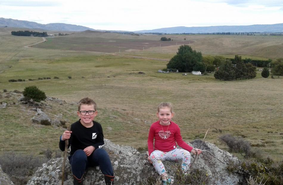 Connor (7) and Indie (4) Joyce are spending lockdown at their grandparents' property in Waipiata....