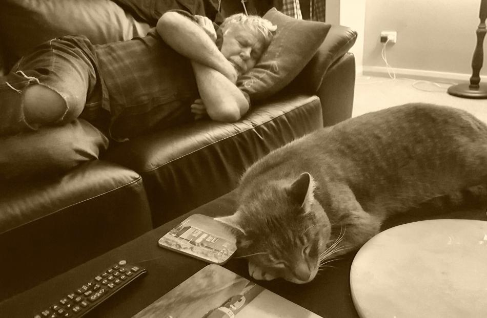 Ron Harris and cat Victor ''cat-nap'' in their lounge in Oamaru. PHOTO: GER LEVERING