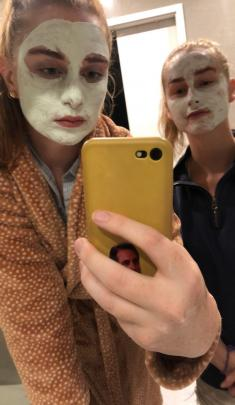 Don't crack a smile . . . Bella Veitch (left)  (21) and Georgia Campbell (21) pamper themselves...