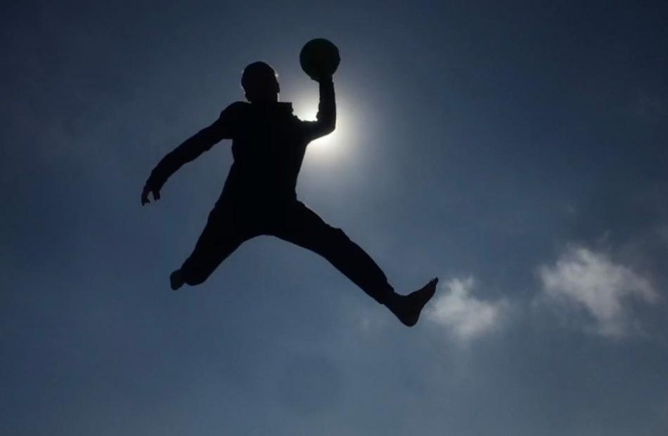 Getting some air . . . Joshua Scott (13) on a backyard trampoline. PHOTO: Laura Scott