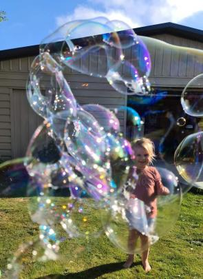 Penelope Bell (3), of Dunedin, puts a literal spin on the Covid-19 lockdown. PHOTO: SHERIE BELL