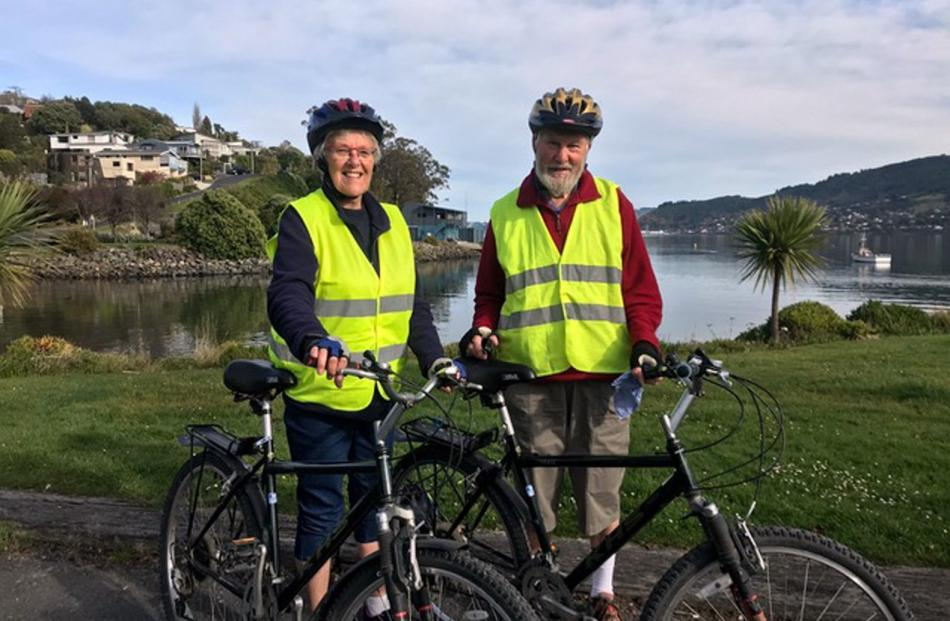 Judy and Gerald Gumpatzes at Macandrew Bay on Wednesday 29 April, just about to turn around and...
