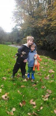 Carson Powick (5) and Spencer Morton (2) out exploring Mount Stuart Reserve. PHOTO: SAM POWICK