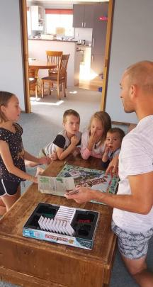 The Morrisons (from left) Talia (10), Hugh (5), Isabelle (8), James (3), and their dad, Steven,...