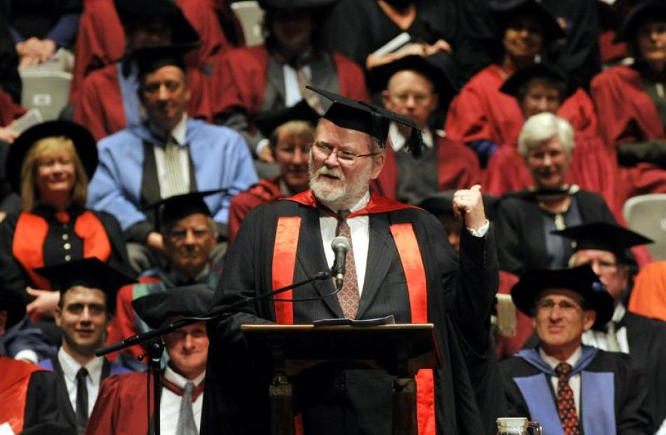 Prof Colin Campbell-Hunt, from the management department, urges Otago graduates to continue to ...