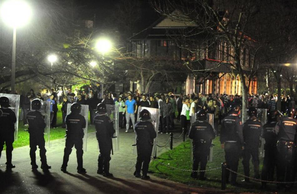 Riot police in the north Dunedin student area after trouble flared following a rogue Undie 500...