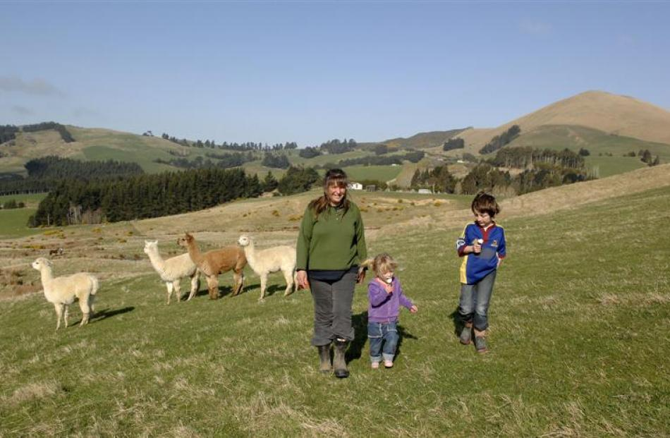 Sandy, her children Kate (3) and Ben (8) Howard with the llamas.  Photo by Linda Robertson.