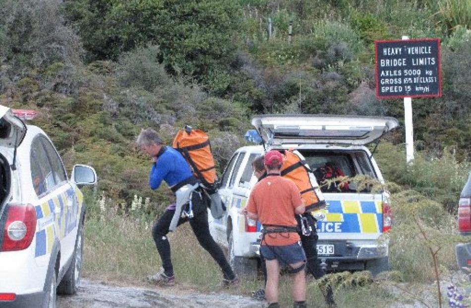 Canyoners Dave Vass and Anna Crafar arrive at Motatapu Gorge on Sunday evening. Wanaka LandSAR...