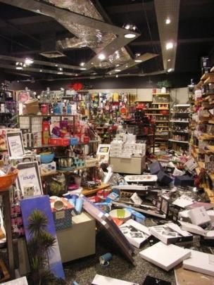 The post-February earthquake scene  in the Acquisitions shop  in the mall at Riccarton.
